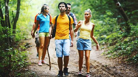 Closeup of group of mid 20's backpackers hiking in local forest just outside the city. They are walking on dirt footpath and looking around, front view.